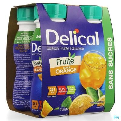 Delical Fruitdrink Gezoet Sinaasappel 4x200ml