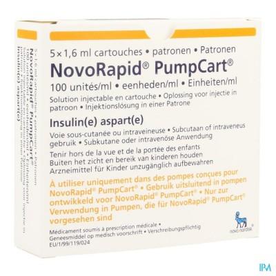 Novorapid Pumpcart 100ie/ml Patroon 5 X 1,6ml