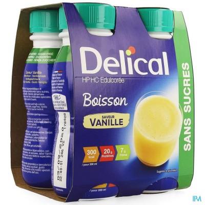 Delical Melkdrank Hp-hc Z/suiker Vanille 4x200ml